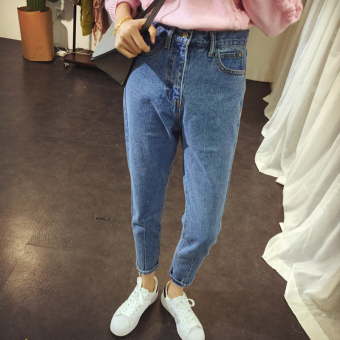 Chic Korean-style high-waisted slimming skinny raw-cut jeans ankle-length pants (011 Models)