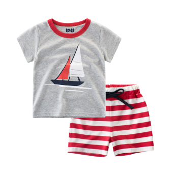 Cotton baby summer New style boys pants Korean-style T-shirt (9700Bflower gray/red collar)