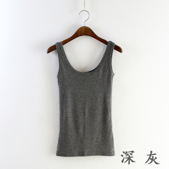 Cotton women autumn sleeveless bottoming shirt sling small vest (Dark gray)