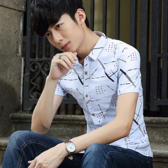 Duke Korean-style men short-sleeved Slim fit casual shirt