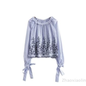 European and american striped shirt embroidered shirt embroidered blouse
