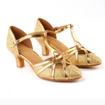 Female adult dance shoes Latin dance shoes (511 flash gold 5 cm)