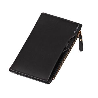 foorvof Leather Mens Bifold Wallets With Slim Minimalist Card Pocket Black
