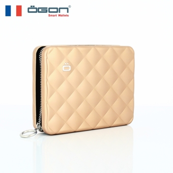 French ogon/Europe clip aluminum wallet quilted passport walletmultifunction clutch bags anti-RFID security card package (RoseGold)