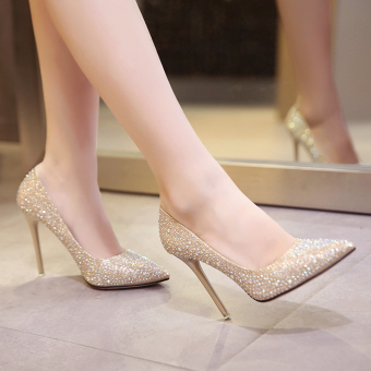 Gold female thin heeled pointed wedding shoes high-heeled shoes (Silver 10 cm) (Silver 10 cm)