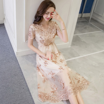 Graceful Korean-style embroidered New style mid-length gauze skirt dress