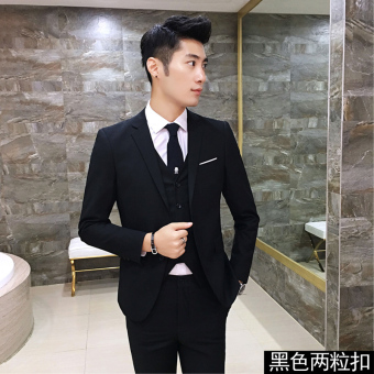 Groom wedding dress Slim fit business professional men's suit (Two grain buckle black) (Two grain buckle black)