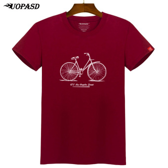 I Korean-style spring New style Slim fit short sleeved t-shirt (Wine red color bike)