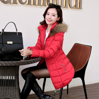 Korean-style female mid-length New style Slim fit jacket winter coat (Red)