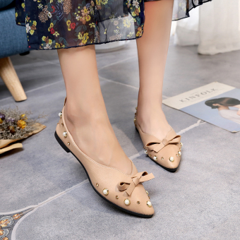 Korean-style female New style summer shallow mouth shoes flat top shoes (Brown)