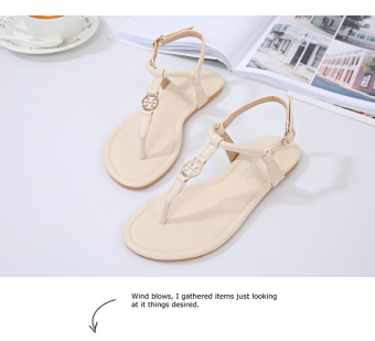 Korean-style Female Summer New style flat flip sandals (Beige)