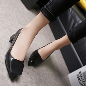 Korean-style gray girls with work shoes high-heeled shoes (Black (square buckle models))