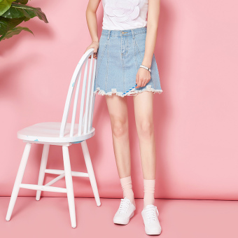 Korean-style New style spring Word raw-cut cowboy Skirt (Light blue)