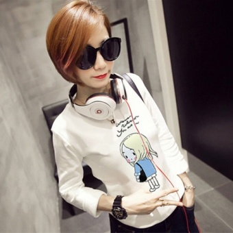 Korean-style Spring and Autumn loose Slimming effect Top (White[951 long-sleeved models])