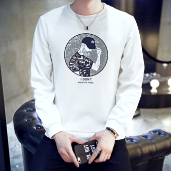 Korean-style Spring and Autumn New style Slim fit round neck pullover hoodie (WY05-white)