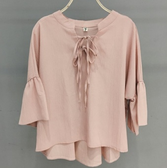 Korean-style spring and summer New style lace trumpet sleeve chiffon shirt (Pink)