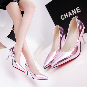 Korean-style spring pointed super high-heeled shoes (Pink (7 cm))