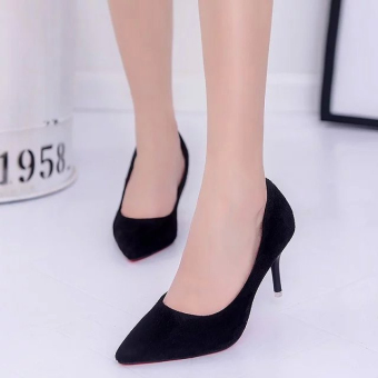 Korean-style suede black thin heeled versatile shoes red high-heeled shoes (Black (upgrade version 7 cm))