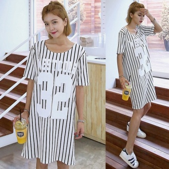 Korean version of the round neck wild student t-shirt korean women big yards long section of loose striped short sleeve t-shirt influx of korean fan