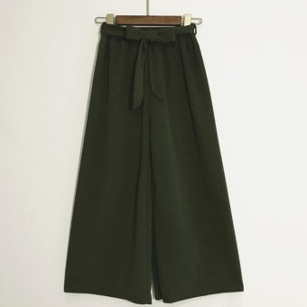 LOOESN casual summer new lace wide leg pants (Green)