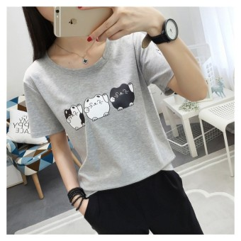 LOOESN Korean female Plus-sized Short sleeve Top T-shirt (Gray)