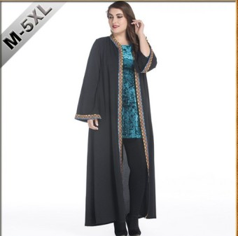 LOOESN Plus-sized long-sleeved robe long jacket