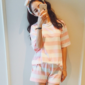 Loose Korean female student Short sleeve Top Striped short sleeved t-shirt (Pink [Top + pants two-piece sets]) (Pink [Top + pants two-piece sets])