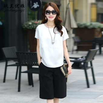 Loose Korean-style female slimming Plus-sized Top chiffon shirt (White)