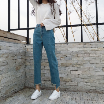 Loose Korean-style raw-cut washed ankle-length straight-leg pants (Blue) (Blue)