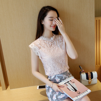 Loose Korean-style slimming Top sleeveless lace shirt (Pink) (Pink)