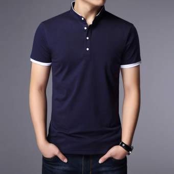 Male short-sleeved loose version of Summer Youth cotton Plus-sizedT-shirt (Dark blue)
