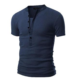 Mens V Neck Short Sleeve Slim Fit T-Shirt(Navy)