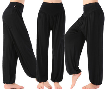Modal fitness to practice sports pants HarLan pants (Ms. Long lantern pants black)