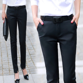Ms. Autumn and New style ol career Slim fit feet black trousers(Black)