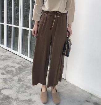 New style summer lace loose casual pants wide leg pants (Coffeecolor) (Coffee color)