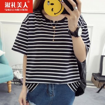 New summer striped short sleeve t-shirt female 2017 students on compassionate korean wild loose women clothes (Black)