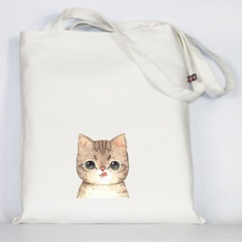 Original handmade cloth art fresh canvas bag korean version of college wind handbag shoulder bag messenger bag small bag tide (Tongue cat white)