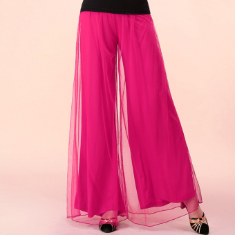 Qiudong mesh female performances practice dance pants wide leg pants (Rose color)