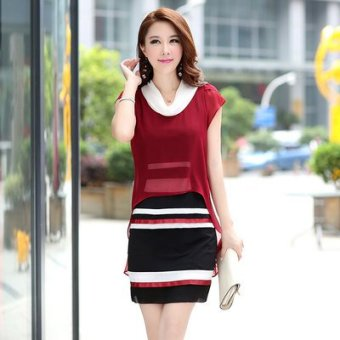 Short-sleeved fake two-piece Plus-sized chiffon dress (Red)