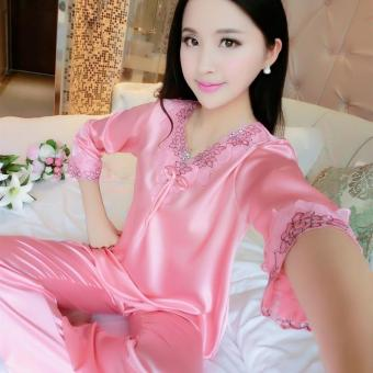 Silk short sleeved women's home clothes silk pajamas (805 watermelon red)