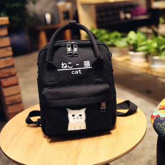 Simple female shoulder New style backpack canvas bag (Black (small)) (Black (small))