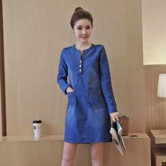 Slim fit new version was thin denim solid color long-sleeved a worddress (Light blue)