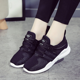 Soft bottom female autumn New style running shoes athletic shoes (Black)