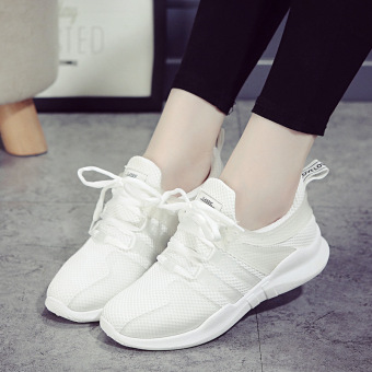 Soft bottom female autumn New style running shoes athletic shoes (White)