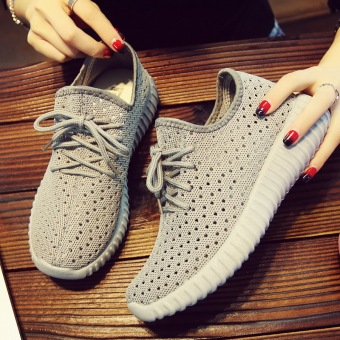 Soft bottom female lace running shoes Shoes (Gray)