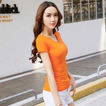 Solid color women Slim fit Short sleeve wild bottoming shirt New style short-sleeved t-shirt (Orange V-neck)