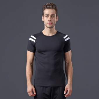 Sports white stretch dance performance training clothes T-shirt (Black) (Black)
