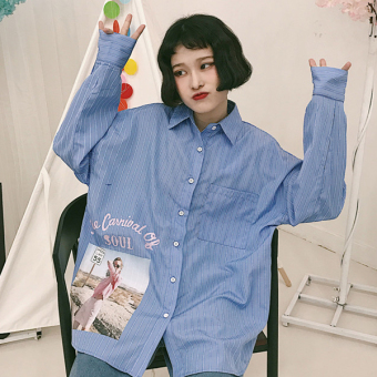 Spring and autumn korean ulzzang harajuku style bf loose vertical stripes shirt long sleeve shirt korean version of the influx of female students