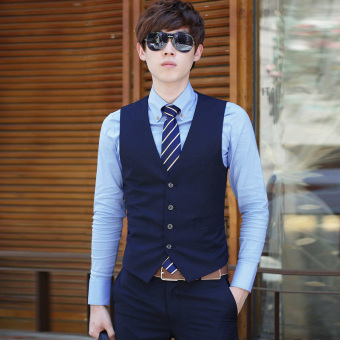 Spring and Autumn models Korean-style Slim fit men's suit vest malebusiness casual career suit vest England vest waistcoat (Dark bluecolor four Buckle)