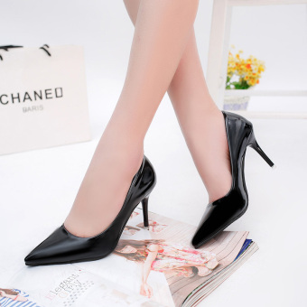Spring New style 10cm nude color high-heeled shoes (Black (8 cm))